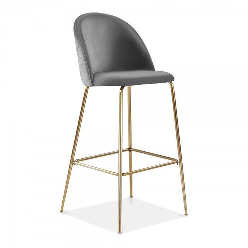 Soft Grey Velvet Millennial Bar Stool - Brass, Copper or Black Leg