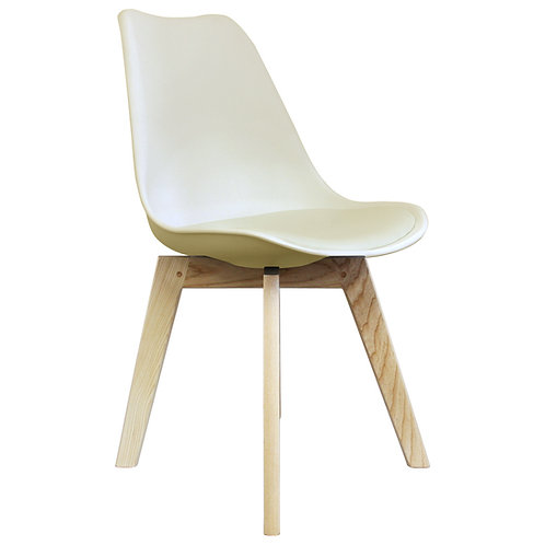 Scandi Style Dining Chair - Modern X Square Base in Natural Wood -Colours +