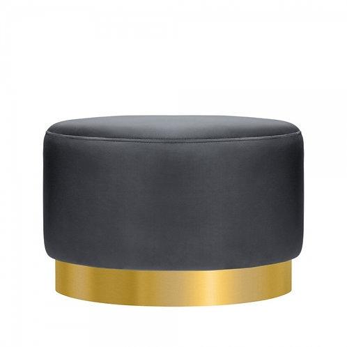 Soft Black -Velvet Ottoman 40cm Stool - Gold base