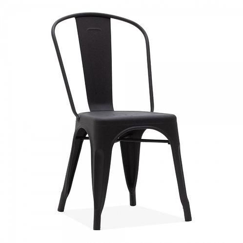Black Matt Industrial style metal dining side chair