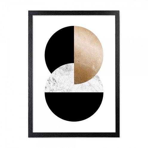 Framed Art - Gold, Marble Moon Print - Art Deco