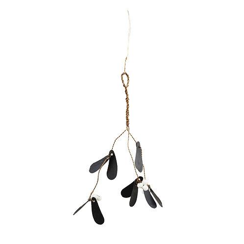 Antiqued Black Scandi Mistletoe Sprig Decor