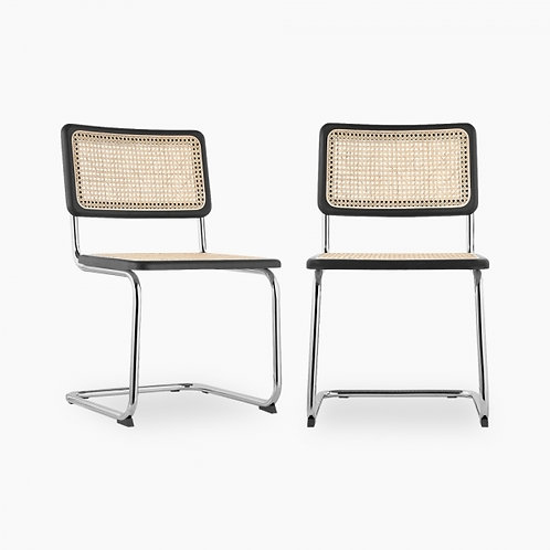 Black Retro Cane Webbing Boucle Anti-Gravity Chair