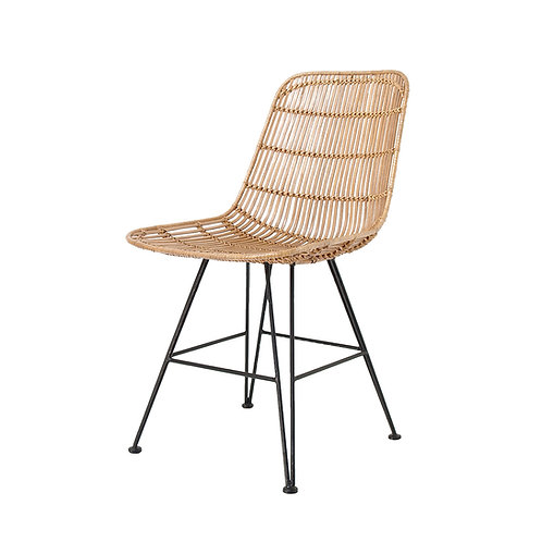 Rattan Dining Side Chair in Black or Natural