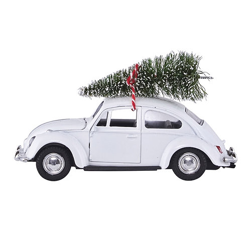 Driving Home for Christmas - White Beatle Xmas Tree Car  - Christmas  Decoration