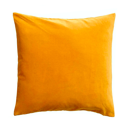 Yellow Cotton Velvet Cushion -