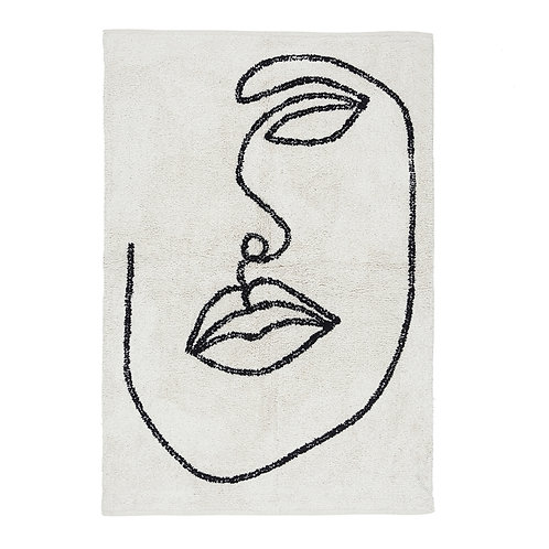 Organic Cotton Abstract Face Rug - Line Art Rug