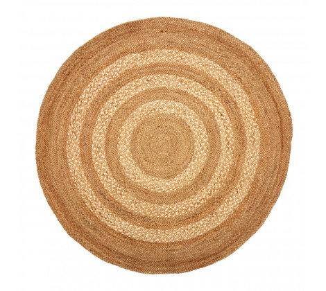 Natural Striped Round Jute Rug