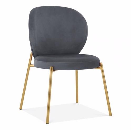 Esme - Grey Velvet Brass Dining Chair