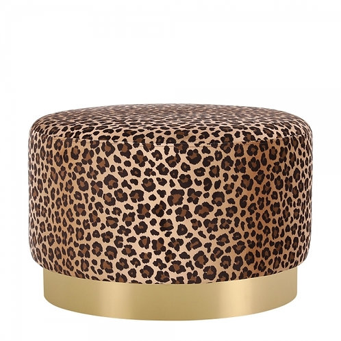 Leopard -Velvet Ottoman 40cm Stool - Gold base