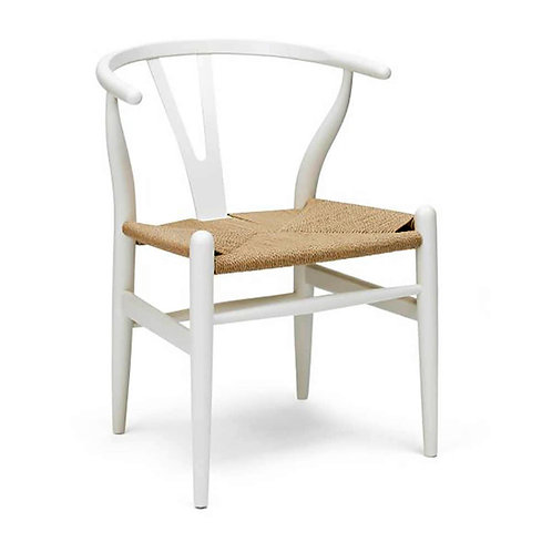 Wishbone Dining Chair - White - Natural Scandi Style