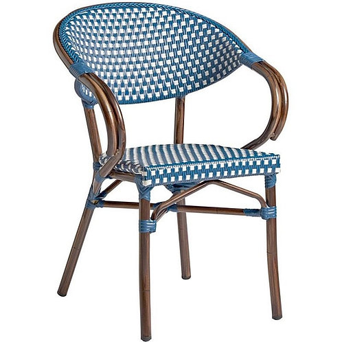 Blue - Riviera Bamboo Cane Dining Chair
