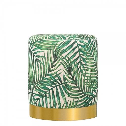 Green Palm Print Tulsi 42cm Stool - Gold base