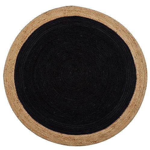 Natural Jute Circular Rug -Charcoal Black