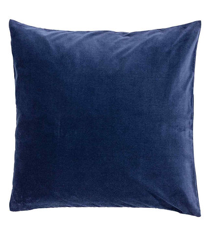 Navy Blue Cotton Velvet Cushion