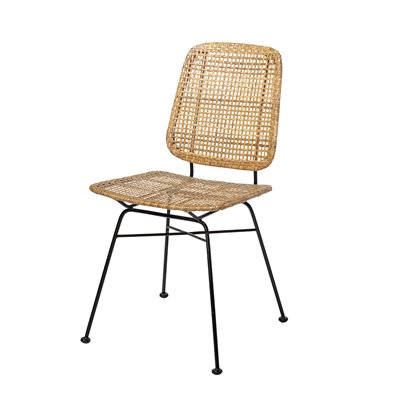 Natural Woven Cane Rattan Retro Dining Chair