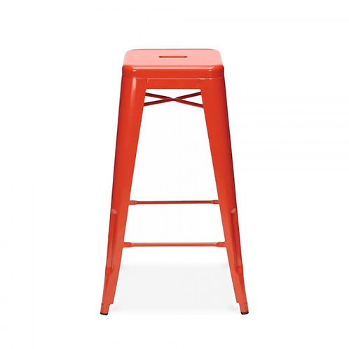 Red Industrial Metal Bar Stool - Set of 4