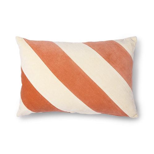 Peach Cream Velvet Striped Cushion