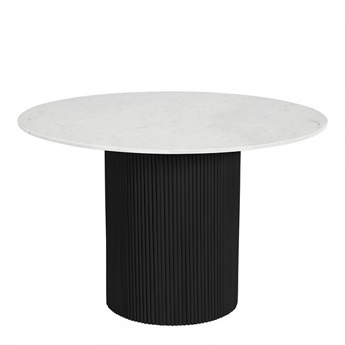 Otto Marble Table  Black Round Pillar Dining Table. 120cm
