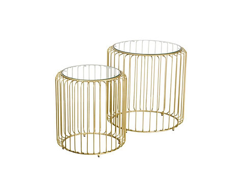 Gold Birdcage Nest of Tables Gold with Glass Top