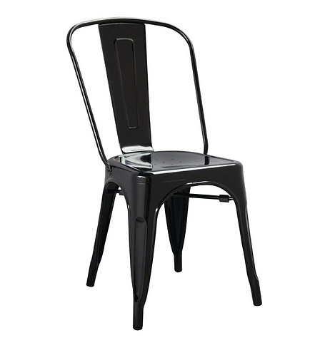 Black Industrial style metal dining side chair