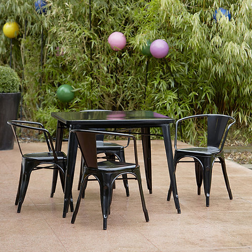 Black French Industrial Style dining table and armchair set 4