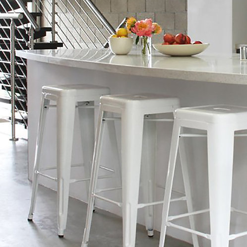Set 4 - White Urban Style Bar Stool - 75cm H