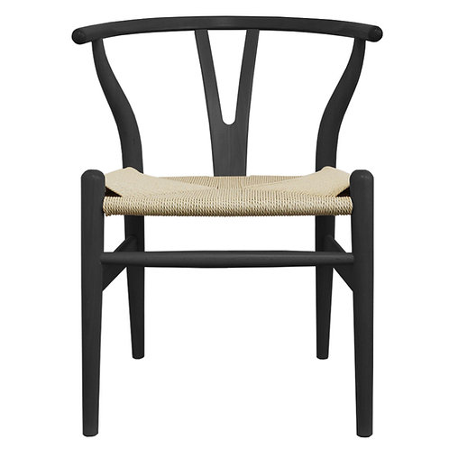 Wishbone Dining Chair - Black - Natural Scandi Style