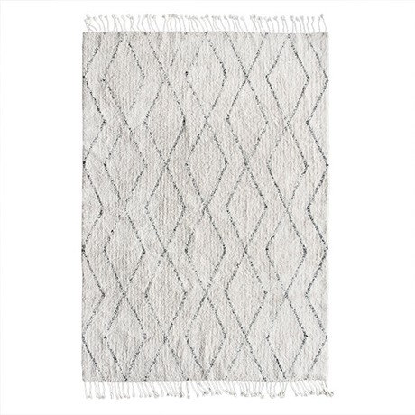 Cotton Berber Black & White Shadow Diamond Rug
