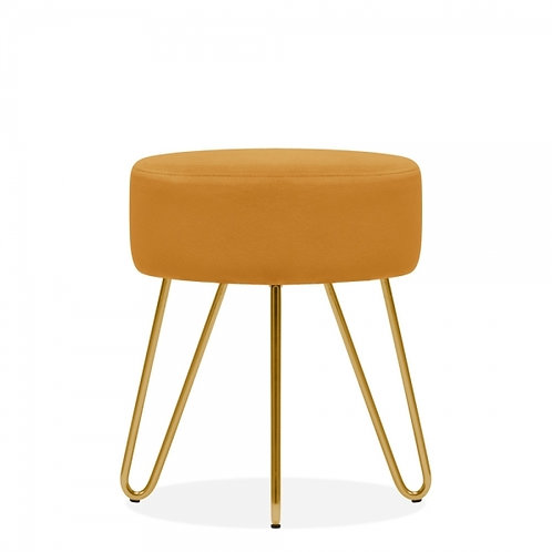 Yellow Ochre Velvet Aeda 45cm Low Stool - Gold Leg Base