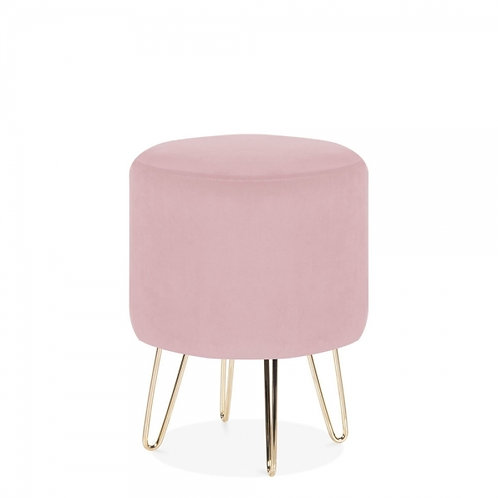 Pink Velvet Tara 40cm Low Stool - Gold Leg Base
