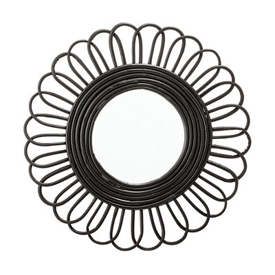 Small 48cm Round Wall Mirror Black Rattan Flower - 2 x Sizes