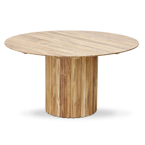 Natural Teak Wood Round Pillar Dining Table.