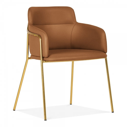 Sophia Tan Faux Leather Dining Chair Brass Frame