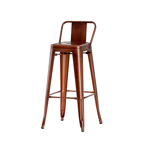 Industrial Metal Bar Stool with back rest 75cm Seat Height