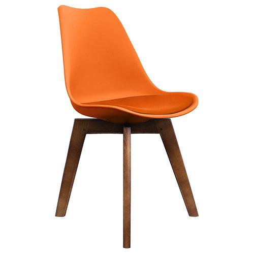 Orange Scandi Style Dining Chair - Walnut Square Base -Colour