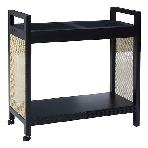 Black Obi Rattan trolley cabinet