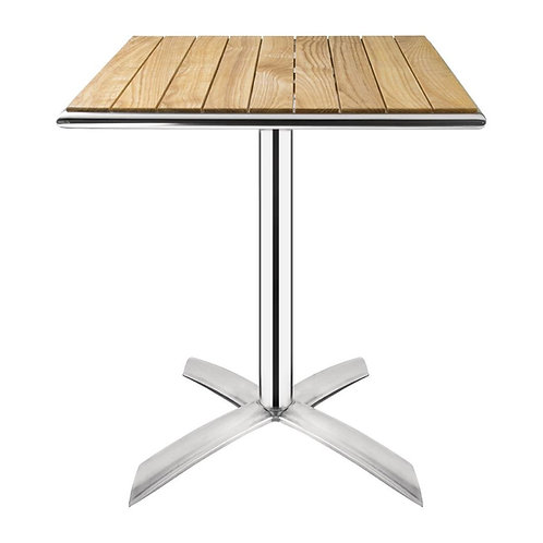 Ash Square Folding Cafe Patio Table - 60cm Height