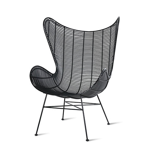 Black Rattan Outdoor Egg Wing Chair