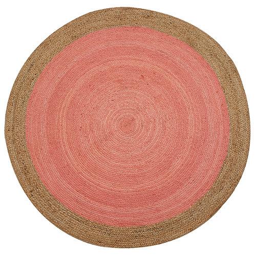 Natural Jute Circular Rug - Coral Pink