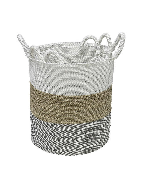 Natural Woven Storage Baskets - White Top