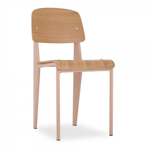 Blush Pink Dining Chair - Natural Bent Wood Metal frame