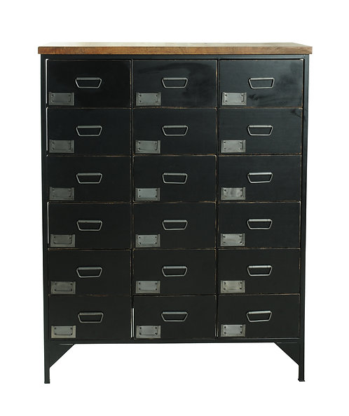 Black Vintage - Locker Room -18-Drawer Storage Unit