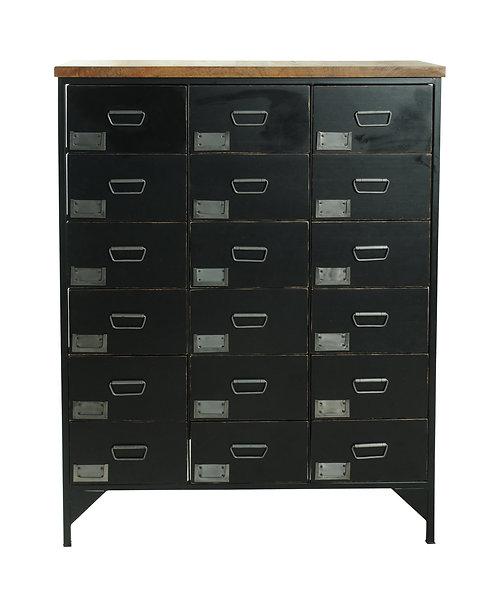 Black Vintage - Locker Room -18-Drawer Storage Unit