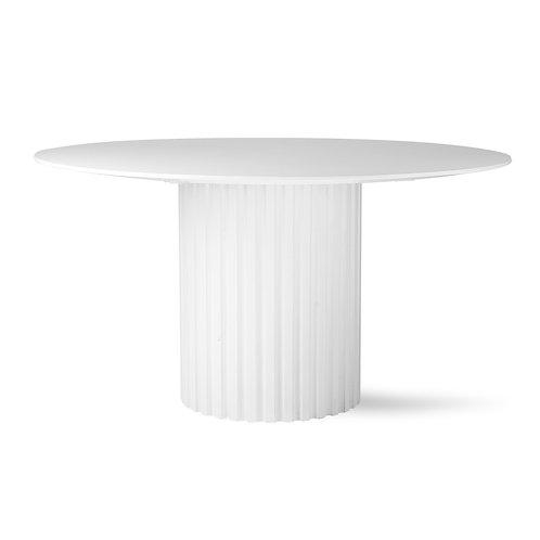 White Round Pillar Dining Table.