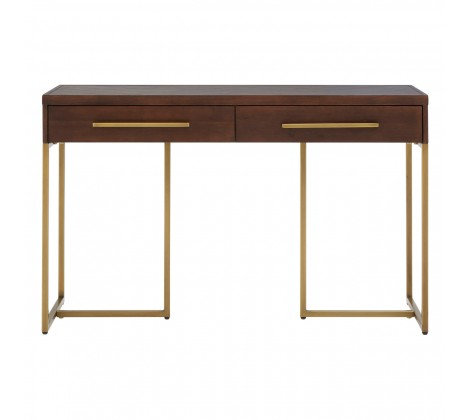Acacia Dark Wood - brass, console desk, side table, 3 drawers