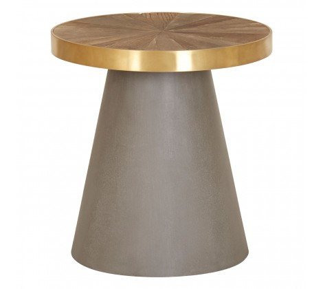 Concrete - Brass Cone Round Side Table