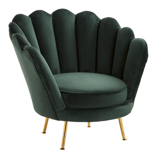 Green Velvet Shell Accent Chair