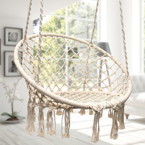 Macrame Swing Hammock Chair - Natural or Black