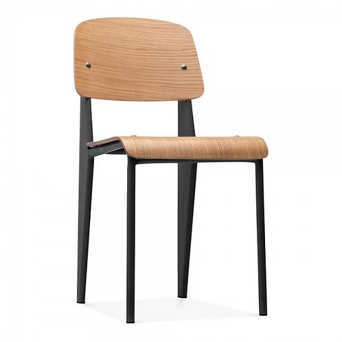 Black Bent Wood Dining Chair - Natural Bent Wood Metal frame
